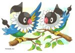 bird branch chatot commentary_request grey_eyes highres leaf no_humans open_mouth pokemon pokemon_(creature) rorosuke standing tongue twitter_username white_background