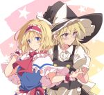2girls alice_margatroid apron arm_up ascot bangs black_headwear black_vest blonde_hair blue_eyes blush bow closed_mouth dress earrings eyebrows_visible_through_hair frilled_hairband frills hair_between_eyes hairband hat highres holding_hands ichimura_kanata jewelry kirisame_marisa lolita_hairband long_hair looking_at_viewer looking_to_the_side multiple_girls red_hairband red_neckwear short_hair short_sleeves sidelocks smile standing sweatdrop touhou upper_body vest white_apron witch_hat yellow_eyes