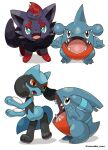 bright_pupils commentary_request fangs gible green_eyes highres looking_up no_humans open_mouth pokemon pokemon_(creature) riolu rorosuke sharp_teeth standing teeth toes tongue twitter_username white_background white_pupils zorua