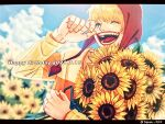 1boy blonde_hair bouquet commentary_request donquixote_rocinante english_text flower happy_birthday holding holding_bouquet hood makeup male_focus one_piece short_hair smile solo striped sunflower sweater toyoura_(23066494) upper_body yellow_sweater