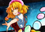 1girl :d bangs blonde_hair blue_background eyebrows_visible_through_hair gradient gradient_background hair_ornament looking_at_viewer medium_hair open_mouth puffy_short_sleeves puffy_sleeves qqqrinkappp rainbow_order shirt short_sleeves smile solo tamatsukuri_misumaru touhou traditional_media upper_body white_shirt yellow_eyes