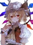 1girl ascot blonde_hair blush closed_mouth crystal expressionless eyebrows_visible_through_hair fingernails flandre_scarlet flat_chest frilled_shirt_collar frills hair_between_eyes hand_up hat hat_ribbon highres iwai_ku_tsuki looking_away looking_to_the_side mob_cap one_side_up pointy_ears puffy_short_sleeves puffy_sleeves red_eyes red_ribbon red_skirt red_vest ribbon short_hair short_sleeves simple_background skirt solo touhou upper_body vest white_background white_headwear wings wrist_cuffs yellow_neckwear