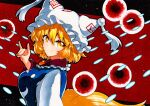 1girl bangs blonde_hair closed_mouth danmaku dress eyebrows_visible_through_hair fox_shadow_puppet from_side hair_between_eyes hat long_sleeves looking_at_viewer looking_to_the_side pillow_hat qqqrinkappp red_background short_hair smile solo tabard touhou traditional_media upper_body white_dress white_headwear yakumo_ran yellow_eyes