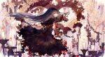 1girl akemi_homura bai_qi-qsr black_dress black_hair burning candle capelet chain dress eyebrows_visible_through_hair flower frilled_dress frills gears headband long_hair mahou_shoujo_madoka_magica mahou_shoujo_madoka_magica_movie rose skeletal_arm solo violet_eyes white_flower white_rose