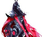 1boy arm_cannon armor cape claws glowing glowing_eyes helmet kmitty looking_at_viewer metroid metroid_dread power_armor power_suit power_suit_(metroid) raven_beak_(metroid) red_cape red_eyes scar science_fiction simple_background solo talons visor weapon