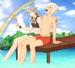 2boys absurdres bennett_(genshin_impact) binder blurry blurry_background clouds dock food genshin_impact grey_hair highres in_water lake long_hair looking_at_another male_swimwear multiple_boys popsicle rainbow razor_(genshin_impact) self_upload sitting smile spooky-dollie topless_male