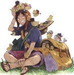 1boy asapbn backpack bag basil_hawkins bird cavendish chick donquixote_doflamingo donquixote_rocinante eustass_captain_kid franky goggles goggles_on_headwear grass grin hat highres killer_(one_piece) marco_(one_piece) monkey_d._luffy nami_(one_piece) nico_robin on_ground one_piece one_piece:_strong_world portgas_d._ace roronoa_zoro sabo_(one_piece) sandals sanji scar scar_on_face scratchmen_apoo shorts sitting smile tony_tony_chopper too_many too_many_chicks trafalgar_law usopp