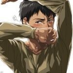 1boy arms_up bertolt_hoover black_hair blush casual covering_mouth crying crying_with_eyes_open dark-skinned_male dark_skin long_sleeves looking_at_viewer male_focus shingeki_no_kyojin short_hair solo tears upper_body zyunya