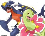 black_sclera claws colored_sclera commentary_request garchomp highres meganium no_humans open_mouth pokemon pokemon_(creature) rorosuke sharp_teeth smile spikes teeth tongue twitter_username white_background yellow_eyes