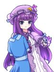 1girl :3 blue_dress chibikki collared_dress crescent crescent_hat_ornament dress gun hat hat_ornament highres holding holding_clothes holding_dress holding_gun holding_weapon long_dress mob_cap patchouli_knowledge pixel_art pointing pointing_at_viewer purple_hair purple_neckwear simple_background solo striped striped_dress touhou vertical-striped_dress vertical_stripes violet_eyes weapon white_background