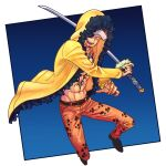 1boy abs absurdres black_hair coat commentary_request denim facial_hair fighting_stance full_body goatee highres holding holding_sword holding_weapon hood hood_up hooded_coat jaguar_print jeans long_sideburns looking_at_viewer male_focus navel one_piece open_clothes open_coat orange_pants pants short_hair sideburns solo sword toned toned_male toyoura_(23066494) trafalgar_law weapon yellow_coat
