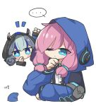 ... 2girls arknights banbon blue_eyes blue_hair blue_jacket blue_poison_(arknights) blush_stickers bolo_tie chibi closed_mouth detached_hood frog glaucus_(arknights) hand_on_own_chin hood hood_up hooded_jacket jacket korean_text long_sleeves low_twintails multicolored_hair multiple_girls one_eye_closed pink_hair spoken_ellipsis streaked_hair twintails