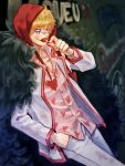 1boy blonde_hair candy coat collared_shirt commentary_request dirty dirty_clothes donquixote_rocinante feet_out_of_frame food heart heart_print highres hood leaning_back lollipop looking_at_viewer makeup male_focus one_piece open_clothes open_coat pink_shirt shirt short_hair solo toyoura_(23066494)