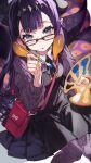 1girl :o bag bangs black-framed_eyewear black_dress black_neckwear black_ribbon blue_eyes blunt_bangs closed_mouth commentary_request dress eyebrows_visible_through_hair glasses highres holding holding_paintbrush hololive hololive_english long_hair long_sleeves looking_at_viewer mika_pikazo ninomae_ina'nis paint paintbrush purple_legwear ribbon smile tentacles violet_eyes virtual_youtuber