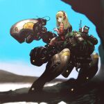 1girl backpack bag blonde_hair blue_sky canteen commentary_request controller externally_piloted_mecha focused headset highres holding holding_controller jun_(seojh1029) long_hair looking_at_viewer looking_back mecha original outdoors plaid plaid_shirt riding robot science_fiction shirt sky solo walker