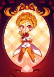 1girl blonde_hair blush child flower holding holding_flower no_straight_roads red_eyes rose smthngjay solo yinu_(no_straight_roads)
