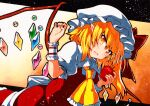 1girl apple ascot bangs blonde_hair collared_shirt crystal eyebrows_visible_through_hair fang flandre_scarlet food frilled_ascot frills fruit hair_between_eyes hat holding holding_food holding_fruit looking_at_viewer mob_cap multicolored multicolored_eyes one_side_up open_mouth pointy_ears puffy_short_sleeves puffy_sleeves qqqrinkappp rainbow_order red_apple red_vest shirt short_sleeves skin_fang solo sweatdrop touhou traditional_media vest white_headwear white_shirt wings wrist_cuffs yellow_eyes yellow_neckwear