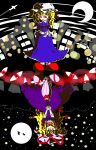 2girls aircraft airplane blonde_hair city city_lights crescent_moon forest full_moon gap_(touhou) hakurei_reimu hat highres kirisame_marisa kuchibashi_(9180) long_hair maribel_hearn mob_cap moon multiple_girls nature night night_sky purple_theme silhouette sky star_(sky) starry_sky touhou tree umbrella upside-down very_long_hair yakumo_yukari
