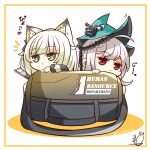 2girls absurdres animal_ear_fluff animal_ears arknights bag bangs bare_shoulders benizika cat_ears chibi closed_mouth commentary_request detached_sleeves dress eyebrows_visible_through_hair green_eyes highres kal'tsit_(arknights) light_green_hair long_hair long_sleeves looking_at_viewer multiple_girls red_eyes silver_hair skadi_(arknights) skadi_the_corrupting_heart_(arknights) translation_request twitter_username very_long_hair
