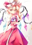 1girl bare_shoulders bat bat_wings blonde_hair bow calpis118 collarbone crystal flandre_scarlet hat hat_ribbon highres holding red_bow red_eyes red_ribbon red_skirt red_vest remilia_scarlet ribbon shirt short_hair siblings sisters skirt solo stuffed_toy touhou vest white_background white_shirt wings