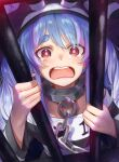1girl animal_ears bangs bars blue_hair blush braid chain chained collar commentary_request eyebrows_visible_through_hair hat highres hololive indoors long_hair looking_at_viewer metal_collar open_mouth prison prison_clothes rabbit_ears rabbit_girl red_eyes shiny shiny_hair solo tears teeth torriet upper_body upper_teeth usada_pekora virtual_youtuber