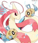 air_bubble black_eyes bright_pupils bubble commentary_request feebas fish highres milotic no_humans open_mouth parted_lips pokemon pokemon_(creature) rorosuke twitter_username white_background white_pupils