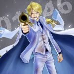 1boy alternate_costume blonde_hair cigarette coat coat_on_shoulders commentary_request dirty dirty_clothes donquixote_rocinante gun highres holding holding_gun holding_weapon male_focus necktie one_piece pants pointing pointing_at_viewer short_hair solo toyoura_(23066494) weapon white_pants