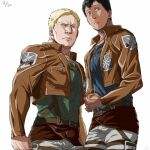 2boys bertolt_hoover black_hair blonde_hair chest_belt cropped_jacket dark-skinned_male dark_skin feet_out_of_frame green_shirt harness height_difference jacket large_pectorals leather leather_jacket looking_at_viewer male_focus multiple_boys muscular muscular_male pants paradis_military_uniform pectorals reiner_braun shingeki_no_kyojin shirt short_hair three-dimensional_maneuver_gear white_background white_pants zyunya