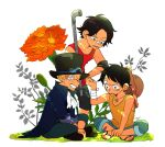3boys ascot bandage_on_face bandages black_hair blonde_hair brothers flower freckles goggles goggles_on_headwear grin hat highres male_focus monkey_d._luffy multiple_boys one_piece pipe plant portgas_d._ace sabo_(one_piece) sandals scar scar_on_face short_hair shorts siblings sleeveless smile straw_hat tbt white_background