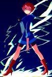1girl blue_hoodie boots highres hood hoodie kumatora looking_at_viewer mother_(game) mother_3 red_footwear redhead shifumame short_hair shorts very_short_hair yellow_eyes