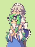 2girls apron back_bow bangs black_bow black_legwear blue_skirt blush_stickers bow braid breasts closed_eyes closed_mouth daigada detached_sleeves frog_hair_ornament gohei green_background green_hair grey_hair hair_bow hair_ornament highres holding hug hug_from_behind izayoi_sakuya kochiya_sanae large_breasts long_hair long_sleeves maid_headdress multiple_girls pantyhose puffy_short_sleeves puffy_sleeves shirt short_sleeves skirt smile snake_hair_ornament touhou twin_braids unconnected_marketeers white_shirt wide_sleeves
