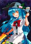1girl :d apron arm_up black_headwear blue_bow blue_hair blue_skirt bow bowtie breasts buttons center_frills dark_background eyebrows_visible_through_hair flaming_sword flaming_weapon food frills fruit hat hinanawi_tenshi holding holding_sword holding_weapon keystone leaf long_hair looking_at_viewer medium_breasts open_mouth orange_eyes peach puffy_short_sleeves puffy_sleeves qqqrinkappp rainbow_order red_bowtie red_neckwear rope shide shimenawa shiny shiny_hair short_sleeves skirt smile solo sword sword_of_hisou touhou traditional_media waist_apron weapon