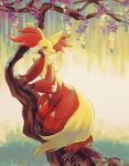 against_tree closed_mouth commentary_request day delphox full_body furry fusenryo head_rest highres looking_at_viewer outdoors pokemon pokemon_(creature) smile solo standing tree