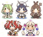 5girls :< :3 :d absurdres animal_ear_fluff animal_ears antlers bangs black_hair blonde_hair blue_eyes blue_hair blush_stickers brown_eyes brown_hair ceres_fauna chibi collar commentary_request earclip earrings eyebrows_visible_through_hair flower friend_(nanashi_mumei) frog_hair_ornament green_hair hair_flower hair_ornament hairclip hakos_baelz highres holocouncil hololive hololive_english jewelry key limiter_(tsukumo_sana) long_hair long_sleeves looking_at_viewer mouse mouse_ears mouse_girl mouse_tail mr._squeaks_(hakos_baelz) multicolored_hair multiple_girls nanashi_mumei ouro_kronii ponytail redhead ribbon same_anko sharp_teeth short_hair simple_background smile spiked_collar spikes streaked_hair tail tail_ornament tail_ribbon teeth tsukumo_sana twintails two-tone_hair virtual_youtuber white_background white_hair yellow_eyes