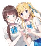 2girls :d bangs blonde_hair blue_bow blue_eyes blue_neckwear blue_ribbon blue_skirt blush bobujirou bow bowtie breast_pocket breasts brown_hair chitose-kun_wa_ramune_bin_no_naka collared_shirt dutch_angle earrings eyebrows_visible_through_hair fingernails green_eyes hair_ornament hair_over_shoulder hair_ribbon hair_scrunchie heart heart_hands heart_hands_duo highres hiiragi_yuuko jewelry long_hair looking_at_viewer loose_bowtie low_ponytail medium_breasts multiple_girls official_art one_side_up open_mouth plaid plaid_skirt pleated_skirt pocket ponytail ribbon school_uniform scrunchie second-party_source shirt shirt_tucked_in short_sleeves simple_background skirt smile striped striped_bow striped_neckwear stud_earrings summer_uniform uchida_yua upper_body weee_(raemz) white_background white_shirt wing_collar