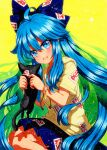 1girl :d animal beige_hoodie black_cat blue_bow blue_eyes blue_hair blue_skirt bow cat eyebrows_visible_through_hair hair_bow holding holding_animal holding_cat long_hair looking_at_animal ofuda ofuda_on_clothes open_mouth pleated_skirt qqqrinkappp short_sleeves skirt smile touhou traditional_media very_long_hair yellow_background yorigami_shion