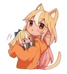 1girl animal_ear_fluff animal_ears blonde_hair blush cat_ears cat_girl cat_tail character_doll commentary_request cropped_torso dark-skinned_female dark_skin hololive hood hood_down hoodie kemonomimi_mode long_hair long_sleeves low_twintails multicolored_hair orange_hoodie red_eyes sasaki_(glass1138) shiranui_flare simple_background sleeves_past_fingers sleeves_past_wrists solo streaked_hair tail twintails upper_body very_long_hair virtual_youtuber white_background white_hair