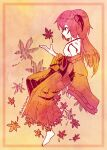 1girl autumn_leaves bare_shoulders barefoot border brown_theme closed_mouth commentary_request detached_sleeves from_side full_body hakama hakama_skirt hand_up hanyuu hatching_(texture) highres higurashi_no_naku_koro_ni horns japanese_clothes linear_hatching long_sleeves momotarekawa monochrome nontraditional_miko profile ribbon-trimmed_sleeves ribbon_trim skirt sleeves_past_wrists solo twitter_username wide_sleeves