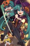 1girl alternate_costume aqua_eyes aqua_hair black_legwear cape commentary elbow_gloves ghost gloves halloween hat hatsune_miku highres jack-o'-lantern jack-o'-lantern_hat_ornament kagamine_rin long_hair moon night no_shoes open_mouth outdoors skirt sleeveless solo spring_onion thigh-highs tongue tongue_out twintails very_long_hair vocaloid witch_hat yukichi_(yu-ame)