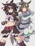 2girls ahoge animal_ears bangs bike_shorts black_hair boots brown_hair clenched_hands cosplay crop_top cure_black cure_black_(cosplay) cure_white cure_white_(cosplay) detached_sleeves dress english_commentary fingerless_gloves frilled_sleeves frills futari_wa_precure gloves green_dress grey_background hair_ornament hands_up highres horse_ears horse_girl horse_tail horseshoe kitasan_black_(umamusume) long_hair looking_at_viewer multiple_girls navel nsb36046_(na) precure satono_diamond_(umamusume) short_hair short_sleeves shorts shorts_under_skirt simple_background skirt smile split_mouth tail umamusume
