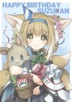1girl :< absurdres animal_ear_fluff animal_ears arknights basket black_collar blonde_hair blue_background blue_hairband blush border box braid character_name collar dress fox_ears fox_girl fox_tail gift gift_box green_eyes hairband happy_birthday hat head_wreath highres holding holding_stuffed_toy infection_monitor_(arknights) looking_at_viewer multicolored_hair multiple_tails oripathy_lesion_(arknights) party_hat plant semi_colon short_hair simple_background smile solo streaked_hair stuffed_animal stuffed_bunny stuffed_toy suzuran_(arknights) sweatdrop tail upper_body white_border white_dress white_hair