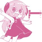 1girl :3 armpits bow chibi commentary_request dress hair_between_eyes halftone hanyuu highres higurashi_no_naku_koro_ni horns long_hair momotarekawa monochrome open_mouth outstretched_arms pink_theme shoes signature simple_background smile solo spread_arms standing standing_on_one_leg sundress very_long_hair