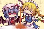 2girls alternate_costume apron ascot bat_wings blonde_hair closed_eyes crystal cup dress enmaided failure flandre_scarlet frilled_shirt_collar frilled_skirt frills frown grumpy hat hat_ribbon light_purple_hair maid maid_apron maid_headdress mob_cap multiple_girls pink_dress pink_headwear pout puffy_short_sleeves puffy_sleeves red_eyes red_neckwear red_ribbon remilia_scarlet ribbon saucer short_hair short_sleeves siblings side_ponytail sidelocks sisters skirt smile solid_oval_eyes spilling table tablecloth teacup teapot touhou unime_seaflower wings