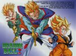1990s_(style) aqua_eyes blonde_hair boots brothers character_name clenched_hands copyright_name dougi dragon_ball dragon_ball_z earrings english_text grin holding holding_sword holding_weapon jewelry long_sleeves official_art potara_earrings retro_artstyle siblings sleeveless smile son_goku son_goten spiky_hair super_saiyan super_saiyan_1 sword trunks_(dragon_ball) weapon wristband