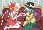 2girls arm_up artist_request ascot bangs black_legwear blush bow breasts commentary_request crystal diamond_button expressionless eyeball flandre_scarlet frilled_shirt_collar frilled_sleeves frills green_eyes green_hair green_skirt hair_over_one_eye hat hat_ribbon heart heart_hands heart_hands_duo heart_of_string highres komeiji_koishi long_sleeves looking_at_viewer mob_cap multiple_girls puffy_short_sleeves puffy_sleeves red_eyes red_ribbon red_skirt red_vest ribbon shirt short_hair short_sleeves sideways_glance sitting skirt small_breasts smile socks thigh-highs third_eye touhou vampire vest white_legwear wide_sleeves wings yellow_bow yellow_neckwear yellow_ribbon yellow_shirt
