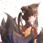 amagi-chan_(azur_lane) animal_ear_fluff animal_ears azur_lane back bangs blunt_bangs brown_hair brown_tail cherry_blossoms closed_mouth commentary_request eyebrows eyebrows_visible_through_hair fluffy fox_ears fox_tail from_side hair_ornament hair_ribbon head_tilt highres japanese_clothes kimono kitsune kyuubi long_hair looking_at_viewer multiple_tails obi off-shoulder_kimono off_shoulder one_eye_closed petals purple_kimono red_kimono ribbon rope sash sherly_hiberna shimenawa shiny shiny_hair sidelocks simple_background sleeveless sleeveless_kimono tail tearing_up twintails violet_eyes white_background white_ribbon