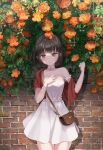 1girl absurdres armpit_crease bare_legs bare_shoulders black_hair blush breasts brick brick_wall brown_eyes choker collarbone dress flower hand_on_own_chest highres leaf looking_at_viewer medium_breasts nature original scarf short_hair skirt smile standing summer trumpet_creeper waistband yuchae