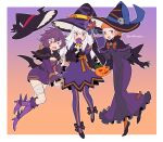 3girls ahoge alternate_costume annette_fantine_dominic bandaged_leg bandages bangs bat_wings bernadetta_von_varley black_dress black_gloves black_headwear blue_eyes blunt_bangs blush boots bow bowtie breasts candy candy_cane capelet cute do_m_kaeru dress elbow_gloves fake_wings falling fire_emblem fire_emblem:_three_houses food gloves hair_between_eyes halloween halloween_bucket halloween_costume hat hat_removed headwear_removed high_heel_boots high_heels holding holding_candy holding_candy_cane holding_food holding_lollipop intelligent_systems juliet_sleeves loli lollipop long_dress long_hair long_sleeves looking_at_viewer lysithea_von_ordelia moe multicolored multicolored_clothes multicolored_dress multiple_girls nintendo open_mouth orange_bow orange_hair orange_legwear orange_neckwear pantyhose pink_eyes puffy_sleeves purple_dress purple_footwear purple_hair purple_legwear short_dress short_hair skull skull_necklace small_breasts smile super_smash_bros. symbol-only_commentary tongue twitter_username two-tone_dress violet_eyes white_hair wings witch witch_hat