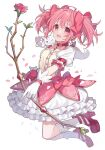 1girl bangs bow bow_(weapon) breasts bubble_skirt buttons chiri_(ch!) choker dress flower flower_ornament gloves holding holding_weapon kaname_madoka kneehighs kyubey magical_girl mahou_shoujo_madoka_magica petals pink_eyes pink_hair puffy_short_sleeves puffy_sleeves rose short_hair short_sleeves short_twintails skirt small_breasts twintails weapon white_background white_dress white_gloves white_legwear