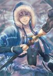 1boy belt blue_hair bracelet capelet closed_mouth collarbone covered_abs cu_chulainn_(caster)_(fate) cu_chulainn_(fate) cu_chulainn_(fate/stay_night) earrings fate/grand_order fate_(series) floating_hair fur-trimmed_hood fur_trim highres holding holding_staff hood hood_up hooded_capelet jewelry long_hair looking_at_viewer male_focus red_eyes shiny skin_tight snow solo staff twitter_username wooden_staff yaguremaru